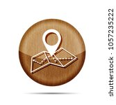 wooden map icon in trendy flat...