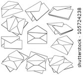 set of open envelopes. vector... | Shutterstock .eps vector #105724238