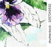 pansy flower. acrylic sketch.... | Shutterstock . vector #1057243532