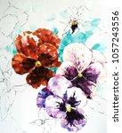 pansy flower. acrylic sketch.... | Shutterstock . vector #1057243556