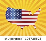 usa flag in map silhouette with ... | Shutterstock .eps vector #105725525