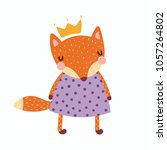 Stock vector hand drawn vector illustration of a cute funny fox girl in a dress and crown isolated objects 1057264802