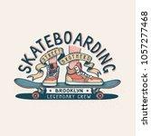 authentic skateboarding vintage ... | Shutterstock .eps vector #1057277468