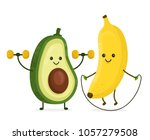 cute happy smiling banana and... | Shutterstock .eps vector #1057279508