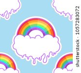 rainbows and clouds seamless... | Shutterstock .eps vector #1057283072