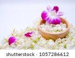 top view  jasmines  orchid in... | Shutterstock . vector #1057286612