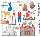 Set with architecture, national flag, costume, map and other Finland symbols in flat style. Vector illustration