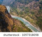 aerial view of the kali gandaki ... | Shutterstock . vector #1057318058