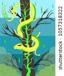 Venomous snake on an acid tree