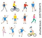 set of people doing various... | Shutterstock .eps vector #1057339475