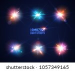 set of realistic light glare ... | Shutterstock .eps vector #1057349165
