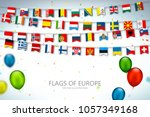 colorful flags of different... | Shutterstock .eps vector #1057349168