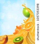 splash of juice. sweet tropical ... | Shutterstock .eps vector #1057353398