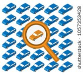 magnifying glass and car.... | Shutterstock .eps vector #1057353428