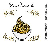 small white bowl of mustard and ... | Shutterstock .eps vector #1057367402