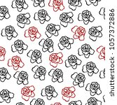 seamless pattern with rose .... | Shutterstock .eps vector #1057372886