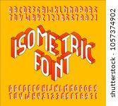 isometric alphabet font. 3d... | Shutterstock .eps vector #1057374902