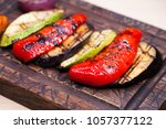 grilled vegetables of different ... | Shutterstock . vector #1057377122