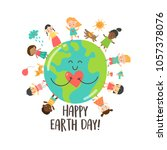 happy earth day greeting card... | Shutterstock .eps vector #1057378076