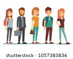 queue of young people. waiting... | Shutterstock . vector #1057383836