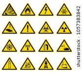 warning and hazard symbols on... | Shutterstock . vector #1057383842