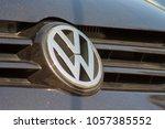 volkswagen plate logo on a... | Shutterstock . vector #1057385552
