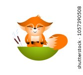 isolated red cartoon fox cub on ... | Shutterstock .eps vector #1057390508