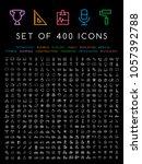 400 universal thin line black... | Shutterstock .eps vector #1057392788