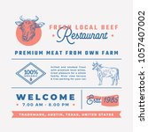 fresh local beef restaurant... | Shutterstock .eps vector #1057407002