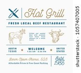hot grill beef restaurant signs ... | Shutterstock .eps vector #1057407005