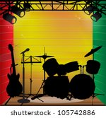 bass,drum,green,guitar,illustrator,jamaica,light,mic,microphones,music,musical,red,reggae,spotlight,stage
