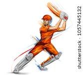 illustration of batsman playing ... | Shutterstock .eps vector #1057445132