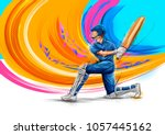 illustration of batsman playing ... | Shutterstock .eps vector #1057445162