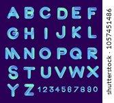 alphabet vector set 3d bubble... | Shutterstock .eps vector #1057451486
