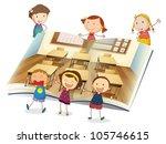 illustration of a kids studying ... | Shutterstock .eps vector #105746615