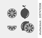 lemon flat vector icons set.... | Shutterstock .eps vector #1057470338