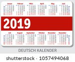 german pocket calendar for 2019 ... | Shutterstock .eps vector #1057494068