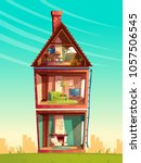 vector three story house... | Shutterstock .eps vector #1057506545