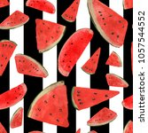 watermelon watercolor pattern | Shutterstock . vector #1057544552