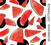 watermelon watercolor pattern | Shutterstock . vector #1057544618