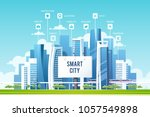 urban landscape with buildings  ... | Shutterstock .eps vector #1057549898