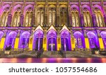 Small photo of Seattle, WA / US - November 12, 2016 : Light up purple Suzallo Library in University of Washington