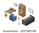 modern living room interior.... | Shutterstock .eps vector #1057585748