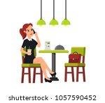 beautiful business woman... | Shutterstock .eps vector #1057590452
