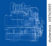 mobile crane blueprint. 3d... | Shutterstock . vector #1057615055