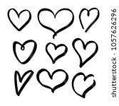 set of nine hand drawn heart.... | Shutterstock .eps vector #1057626296