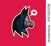 cute gas mask with wolf or cat... | Shutterstock .eps vector #1057632338
