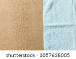 blue fabric on sand of beach... | Shutterstock . vector #1057638005