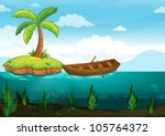 illustration of a plam tree and ... | Shutterstock .eps vector #105764372