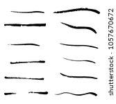 set of brush strokes  vector... | Shutterstock .eps vector #1057670672